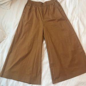 Who What Wear Camel Wide Leg High Waist Crop Pants